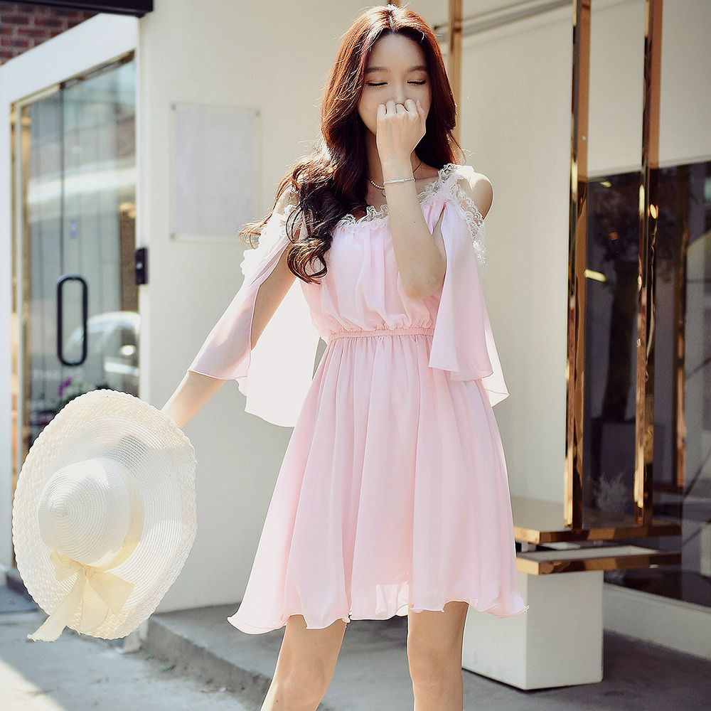 original dress summer 2017 new sweet lady sexy elastic waisted strapless casual pink pleated dresses women wholesale