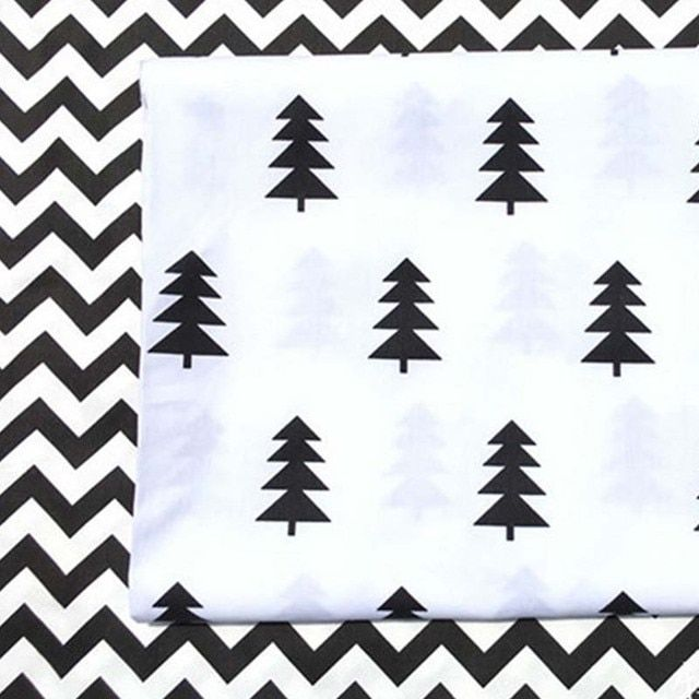 100% cotton twill cloth cartoon white BLACK pine CHEVRON fabric for DIY kids crib bedding cushions crafts handwork quilting tela
