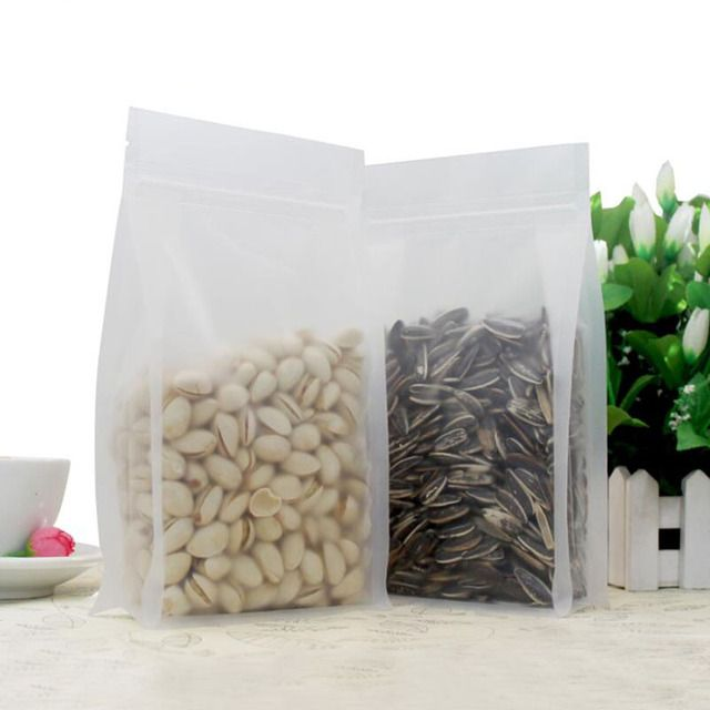 100Pcs Big Capacity Frost Food Grade Plastic Packaging Bag, Stand-up Big Bottom Storage Pouch for Food Cookie Tea Bakery