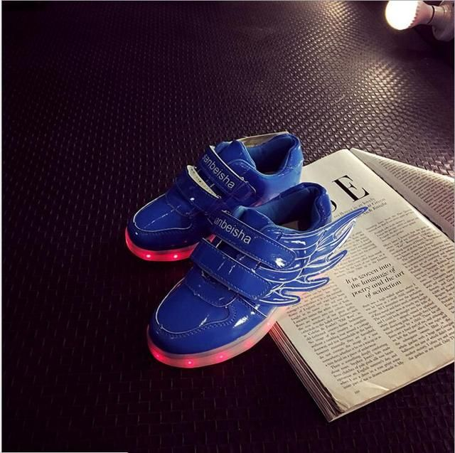 Children Shoes Light Up Sneaker for Kids USB Charging Luminous Brand Sneakers Led Girl Boy Light Flat Shoes with Wings