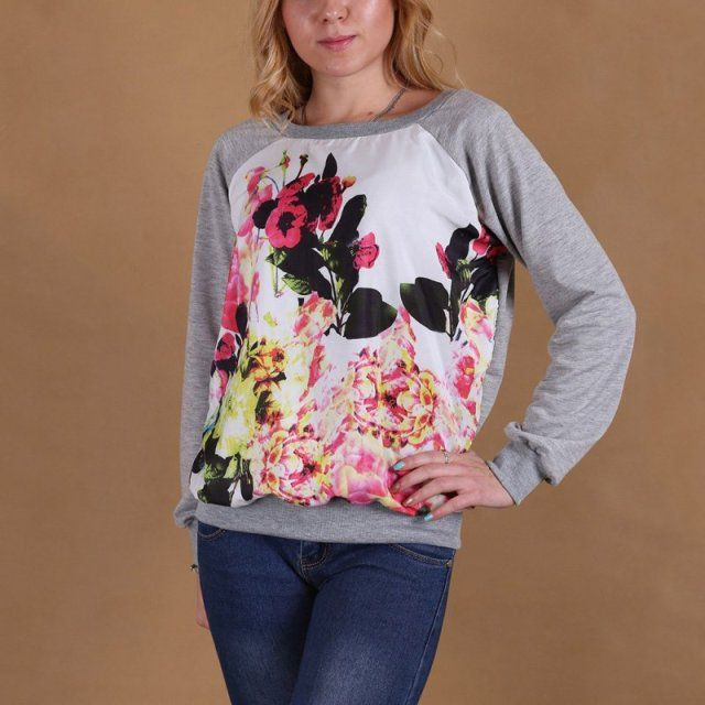 2017 Spring Autumn Women Casual Sweatshirt Long Sleeve Hoodies Pullover O-neck Floral Print Patchwork Sweatshirts Plus Size