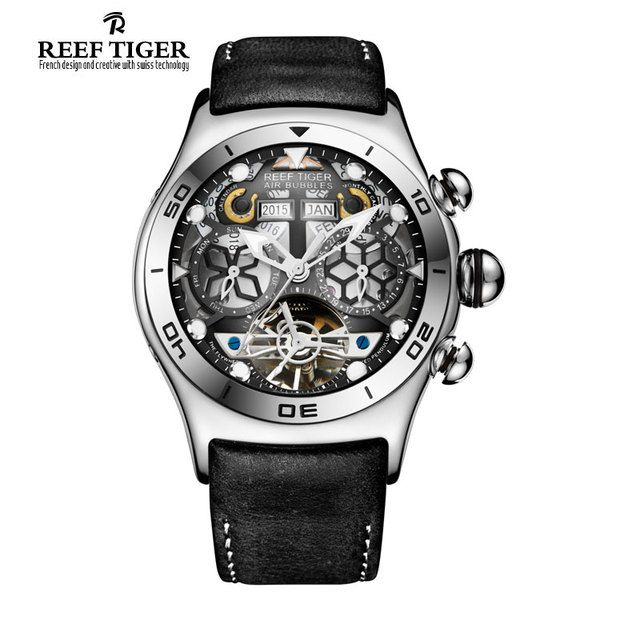 Reef Tiger/RT Mens Sport Watches Big Skeleton Dial Luminous Tourbillon Watch Year Month Calendar Steel Automatic Watch RGA703