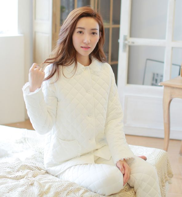 High quality women cotton-padded royal lounge tops+trousers sets female thermal sleepwear pajamas set