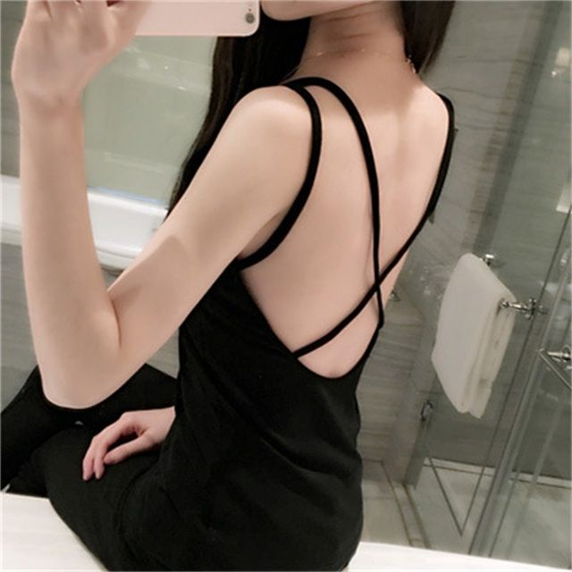 2016 Summer Style Fashion Back Cross Sexy Crop Top Cropped Feminino Blusa Women's Tank Top Camisole Vest Women Blouse
