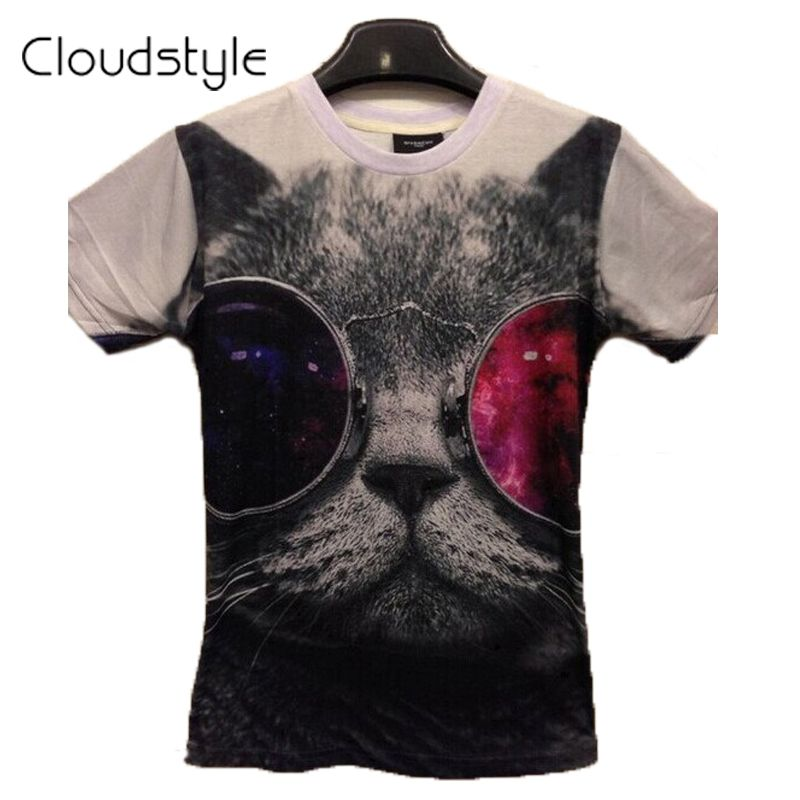 Cloudstyle 19 Patterns S-3XL 3D T Shirt Men Funny Cat with Sunglasses Short Sleeve Tshirt Homme Brand Clothing 2017