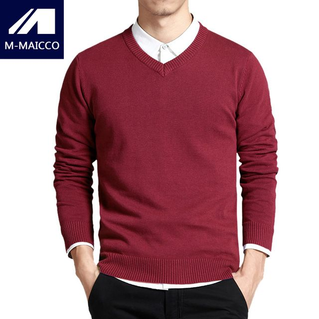 M-MAICCO Men's knitted sweaters 11 solid color sexy V-neck sweater men Business casual pullovers high-quality brand clothing
