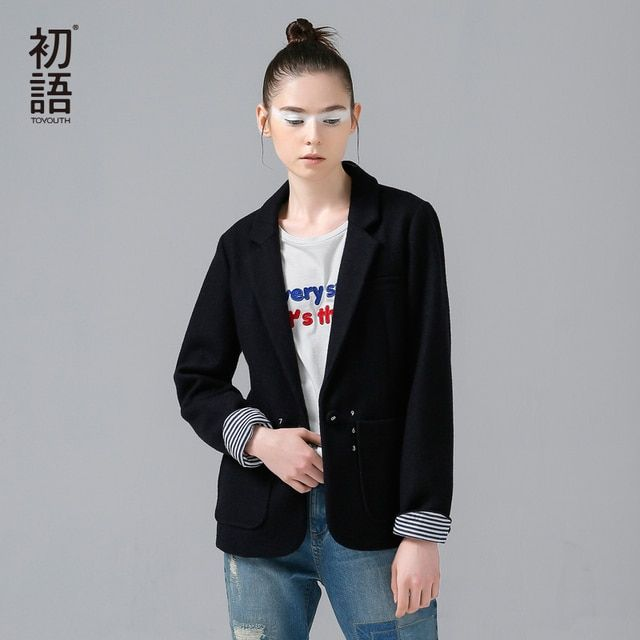 Toyouth Brand New Blazer Femme Autumn Cape Collar Women Work Wear Formal Woollen Solid Color Outwear Jacket