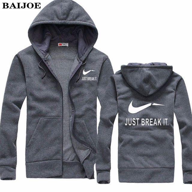 BAIJOE Autumn New Arrival High JUST BREAK IT Printed Sportswear Men Sweatshirt Hip-Hop Male Hooded Hoodies Zipper Pullover Hoody