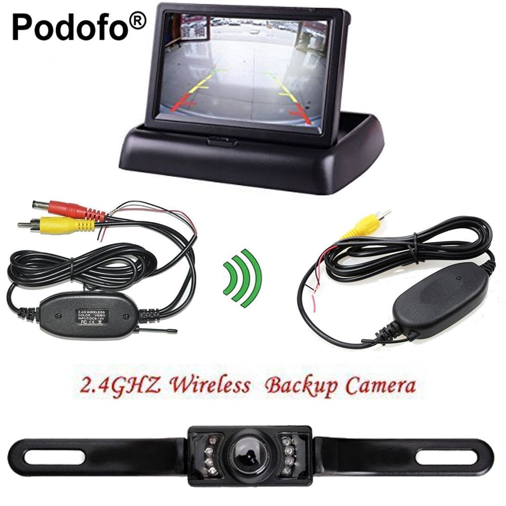 "Podofo 4.3"" Foldable Car TFT LCD Monitor Wireless Backup Camera License Plate Reverse Rear View Parking System Set"