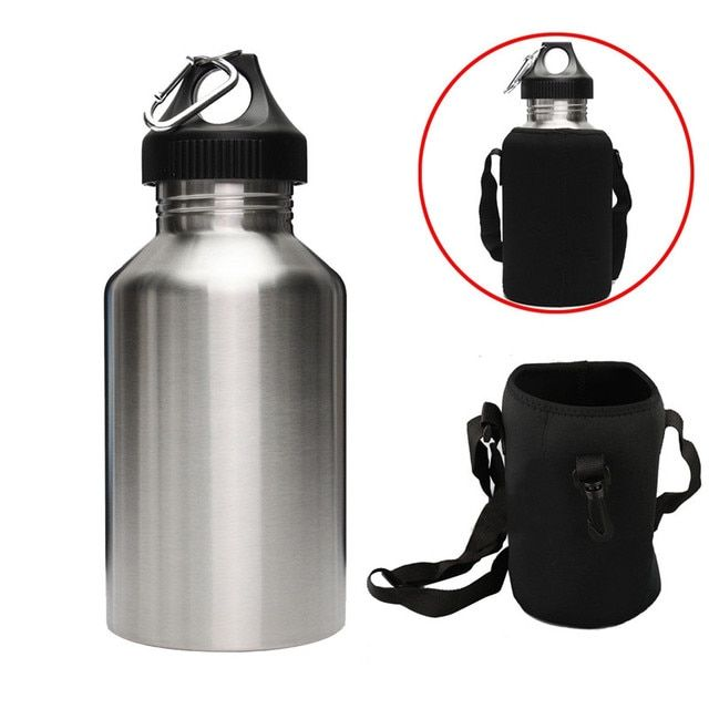 2L Large Volume Stainless Steel Water Drink Bottle With Carrier Bag Holder Cycling Camping Sports Gym Bottle Kettle
