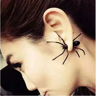 1PC Spider Stud Earrings for women 3D Animal Earrings black Female Small Earring Studs Non piercing Punk men ear jewelry brinco