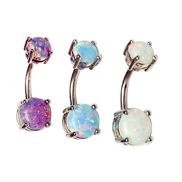 New Brand Opal Gem Navel Piercing Belly Button Rings 14G Body Piercing Navel Sexy Jewellery Women Bijoux Piercing Nombril