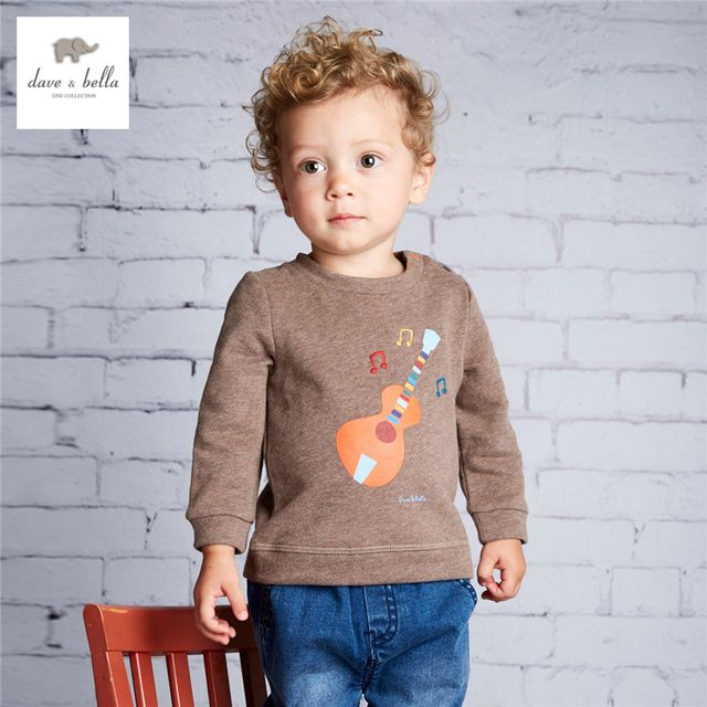 DB3995 dave bella baby boys printed  t shirt  kids clothes boys top coffee guitar printed tees