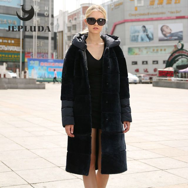 JEPLUDA Real Fur Vest Warm Women's Down Coat Parka Winter Long Hooded Natural Sheep Shearing Real Fur Coat Winter Jacket Women