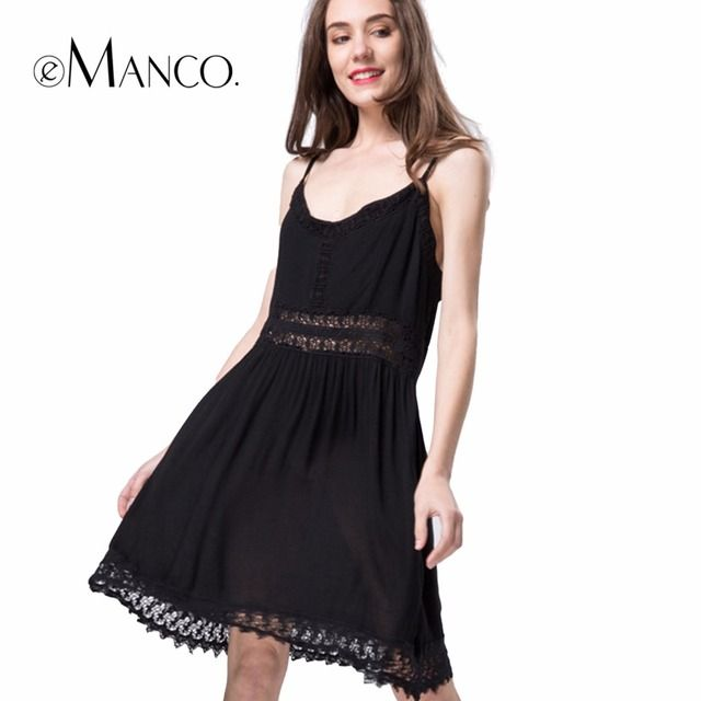 e-Manco 2017 spring summer women's Europe style fashion lace strap Hook flower stitching harnesses dress