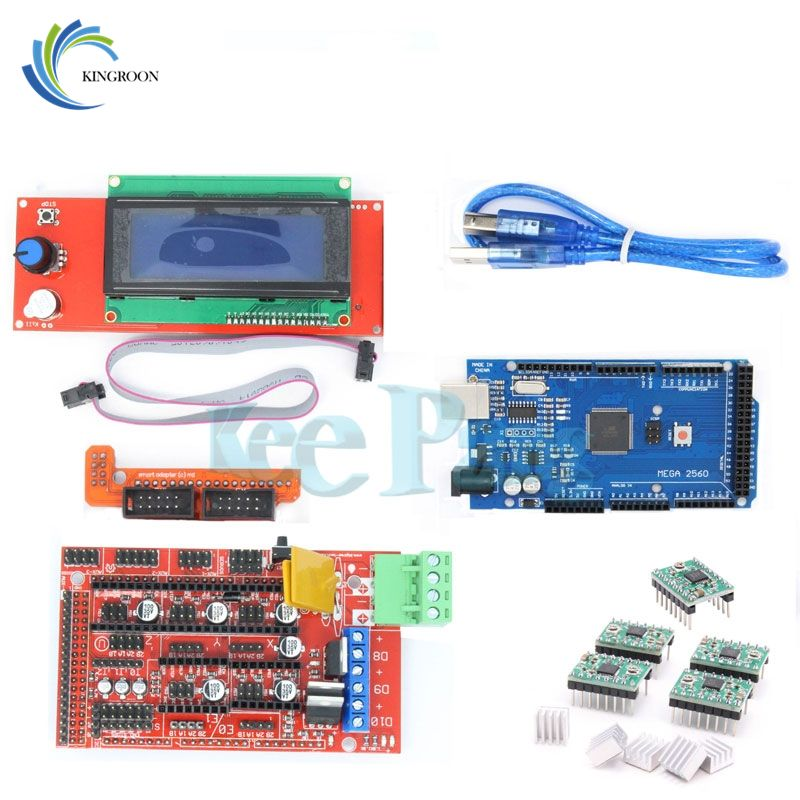 KINGROON New 3D Printer Kit RAMPS + 2004 LCD Controller + MEGA 2560 R3 + A4988 Driver Motherboard 3D Printer Accessories