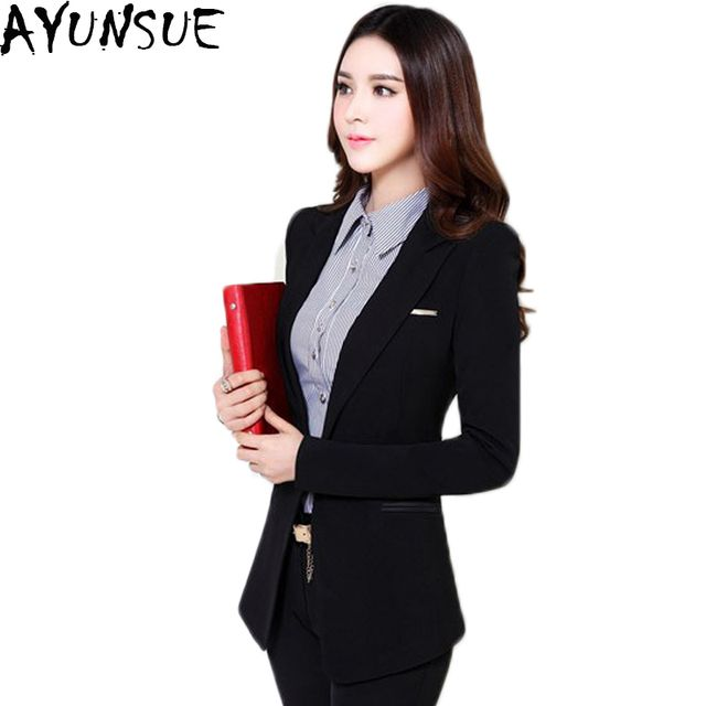AYUNSUE 2018 New Design Blazer Female Autumn Slim Women Blazer And Jacket Mid Long OL Style Vest Femme Blazer Plus Size 6XL LX94
