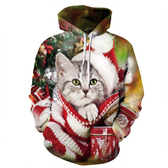 3d Hoodies Sweatshirts Men Women 2019 Christmas Gifts Santa Claus Christmas Cat Dog print Male Tops Hoody Winter Female Pullover