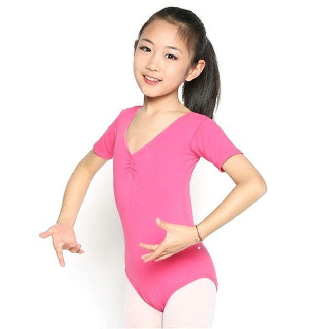 Child Girl Kid Short Sleeve Cotton Leotard Clothes High Elasticity Ballet Dance Dress Gymnastics Wear