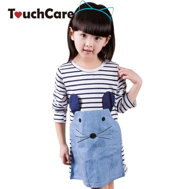 Clearance Spring And Autumn Striped Patchwork Character Girl Dress Long Sleeve Children Clothing Kids Girls Dress Denim