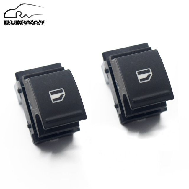 Free shipping! 2X High Quality Single Window Switch For Volkswagen VW TIGUAN TOURAN PASSAT B6 CC GOLF 5 6 GTI JETTA MK5 MK6