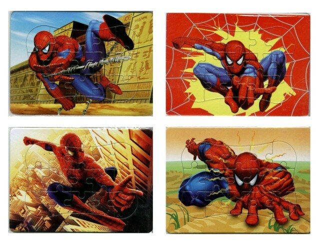 2016 Real New Arrival Grownups Puzzles For Children Juguetes Wooden Toys 4 In 1 Cartoon Spiderman Puzzle For Boys Gift(10*14cm)