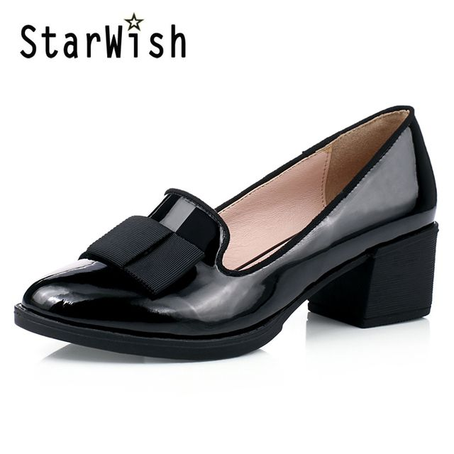 Sweet Bowtie Patent Leather Pumps Round Roe Women's Platform Elegant Thick High Heel Shoes Plus Size 34-40 Slip-on High Heels