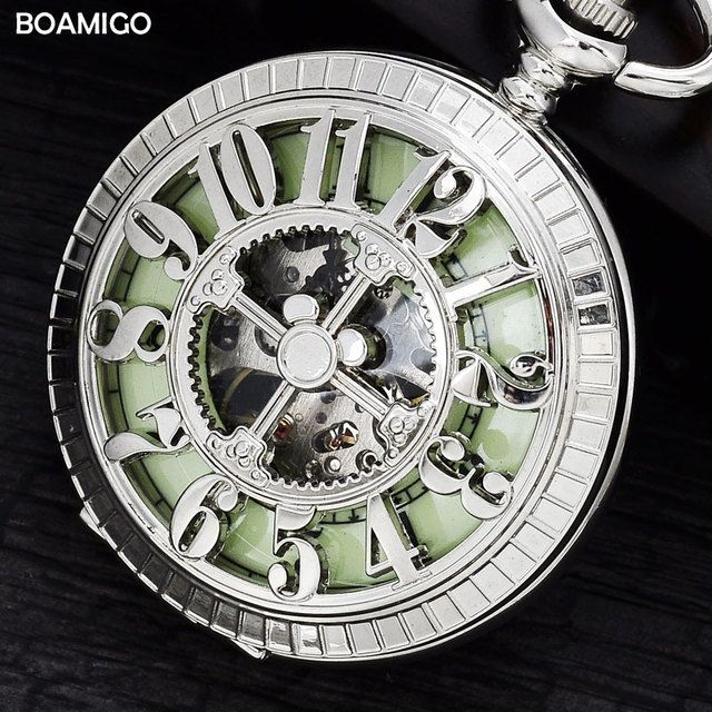 FOB pocket watches antique men mechanical watches BOAMIGO brand skeleton arbic number watches silver design clock reloj hombre