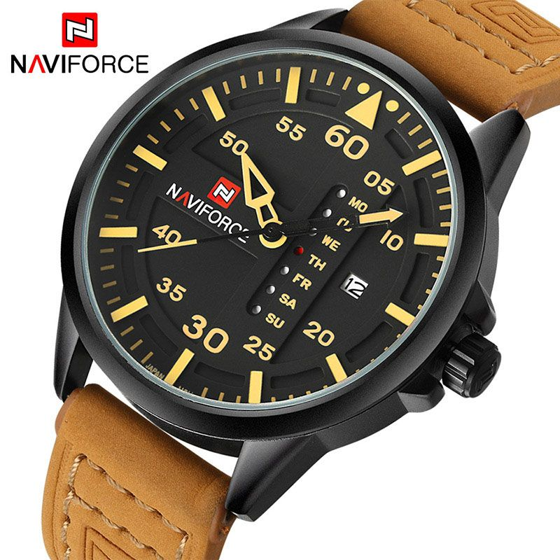 NAVIFORCE 2019 New Luxury brand Men Army Military Sports Watches Men's Quartz Clock Man Leather Waterproof Wrist Watch