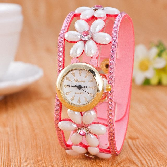 Women Dress Watches rhinestone Watches Vintage Leather Fashion Quartz Retro Sports Vintage Butterfly Beads WristWatches W217
