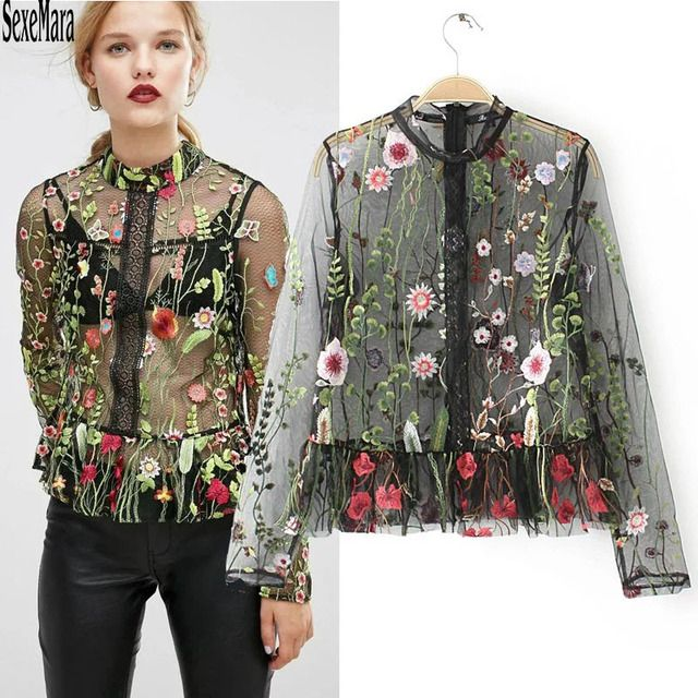 2017 Top Hot Sale Blouse Women Tops The Ladies Elegant And Sexy Transparent Female Leisure Sleeved Shirt Net Gauze Color Flower