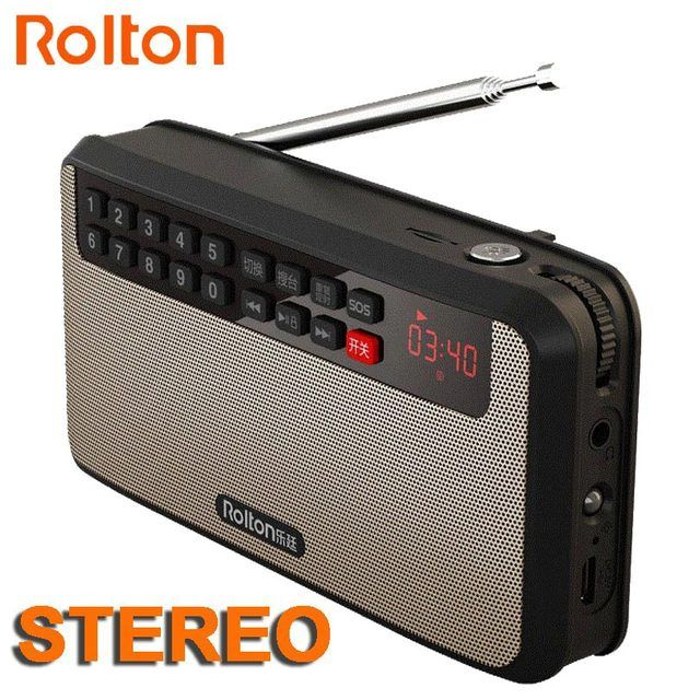 RoltonT60 MP3 Stereo Player Mini Portable Audio Speakers FM Radio With LED Screen Support TF card Playing Music LED Flashlight