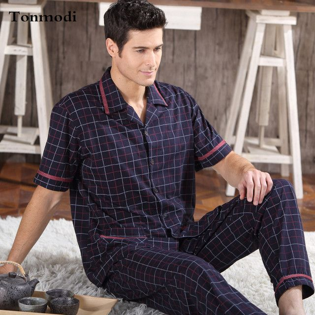 NEW Man's Sleepwear Cotton Pajamas Set Short Sleeve Pyjamas Trousers Men Lounge Sleep Pajama Set Plus size 4XL