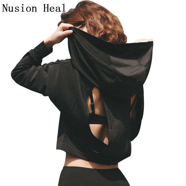 NUSION HEAL Women Running Jackets Yoga Jacket Polyester Long Sleeve Fitness Running Shirts Yoga Sport Breathable Yoga Shirts