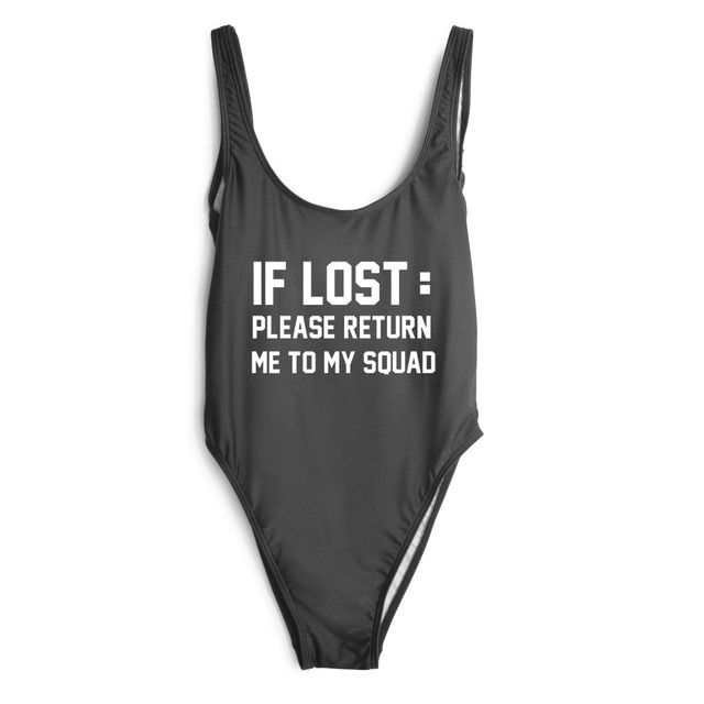 Women Fashion Clothing open low back one piece Bodysuit Sexy Lady IF LOST:PLEASE RETURN ME TO MY SQUAD Swimwear jumpsuit Suits