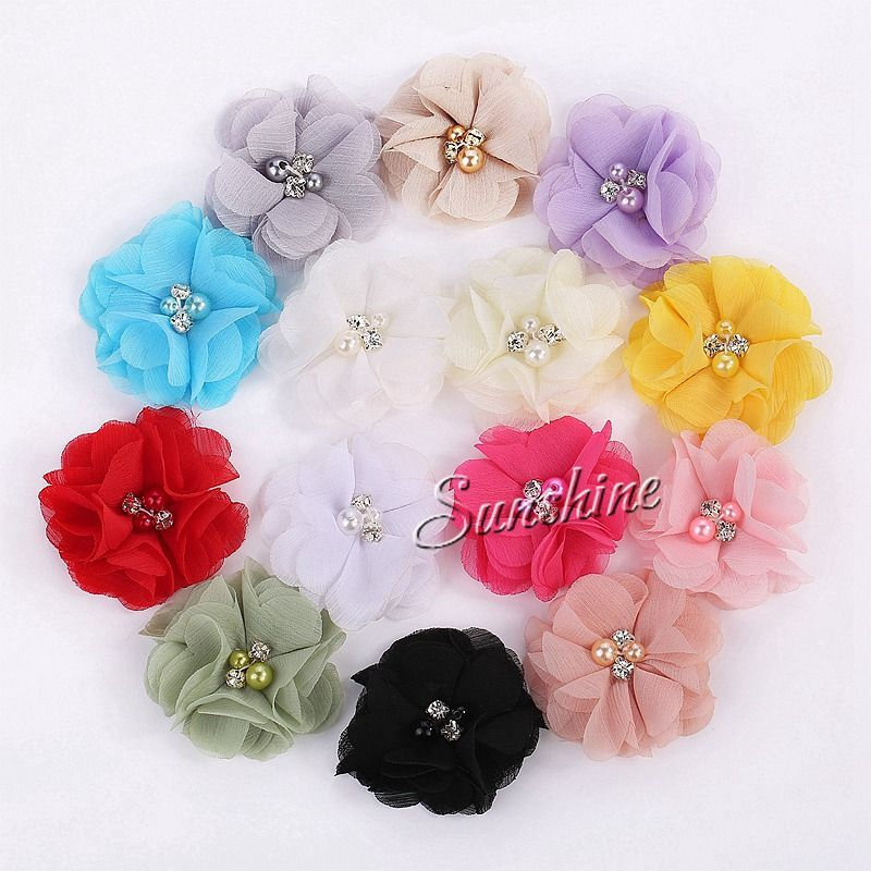 baby girlsTulle Chiffon flowers Rhinestone Pearl Center Flat Back hair headband Accessory Shoe Pearl #8W0016 48 pcs/lot