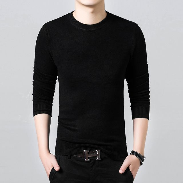 2016 fashion Sweater men youngers thin solid slim O-neck sweaters pullover homme small size