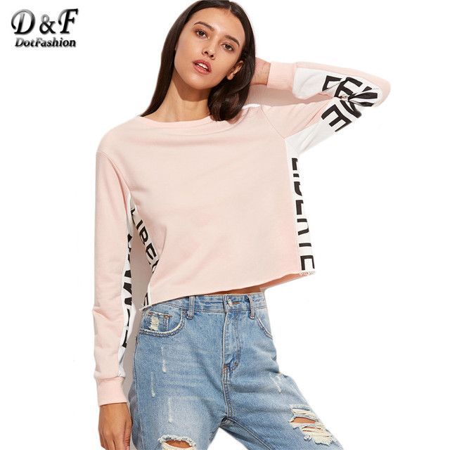 Dotfashion Fall 2018 Womans Clothes High Quality Sweatshirt Women 2016 Pink Contrast Letter Print Panel Crop Sweatshirt