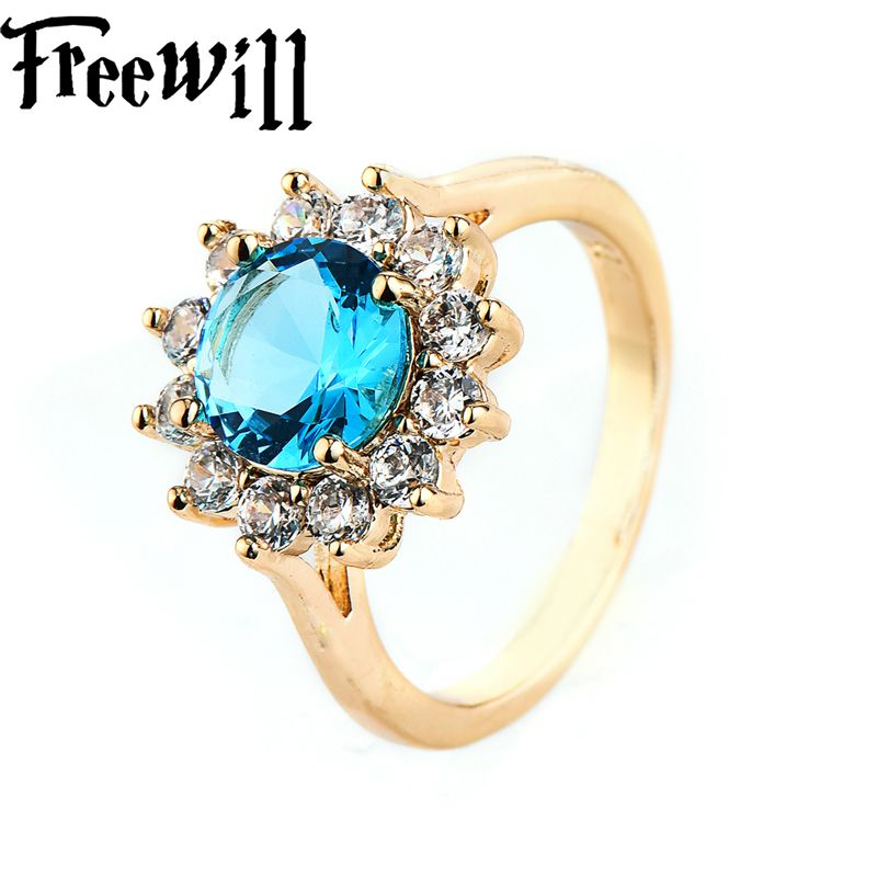 FREEWILL Luxury Brand Rings For Women Blue Gold-Color Round Fashion Jewelry Ring Mother's Day Gift Channel Wedding Flash Rings