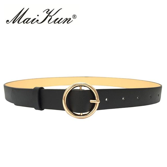 Black Leather Belt for Women Belt Luxury Brand Designer Golden Round Buckle Jeans Belt