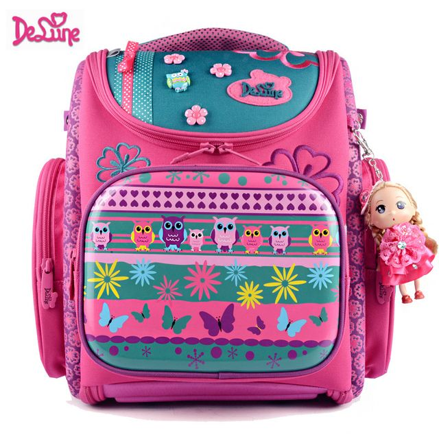 2017Delune Large Capacity Folding Bag Reduces Protection Spinal Waterproof Printing Canvas Girls Schoolbag free shipping#1