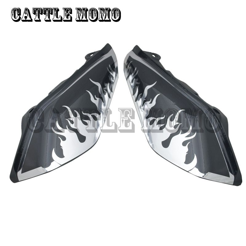 Air Deflectors with Flame decals Chrome For Touring Street Glide Motorcycle Accessories ABS Motorcycle Air Deflectors
