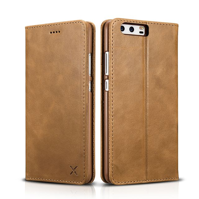 XOOMZ Genuine Leather Wallet flip Case For Huawei p10/ P10 Plus Book Design Magnetic Closure Folio Cover Stand full protect case