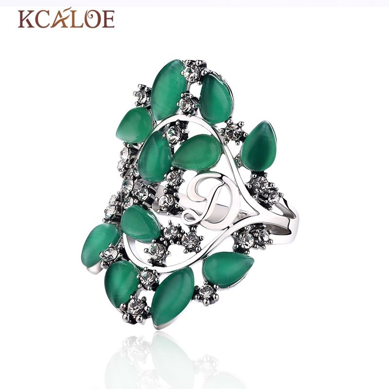 KCALOE Green Opal Ring Brand Letter D Silver Color Hollow Geometry Vintage Big Wedding Jewelry Natural Stone Rings Anel
