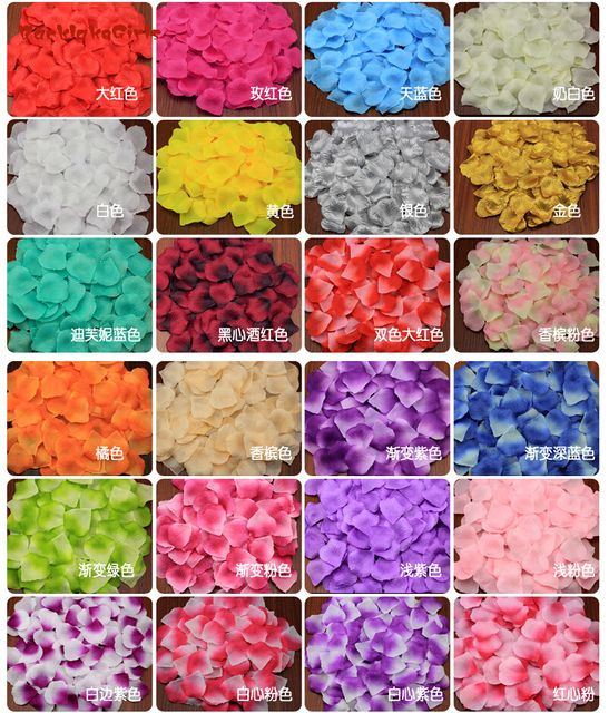 BacklakeGirls Rose Petals 2017 Sell Romantic Silk For Wedding Decorations Artificial Polyester Confetti 2000Pcs/lot Flower Petal