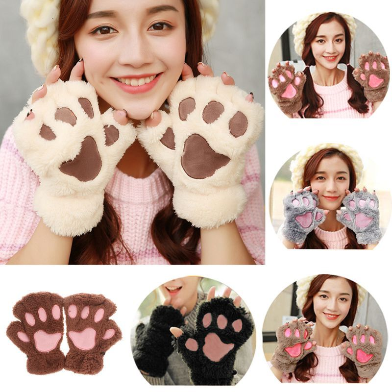 Winter Lovely Women Bear Cat Claw Paw Mitten Plush Gloves Short Finger Half Gloves Ladies Half Cover Female Gloves
