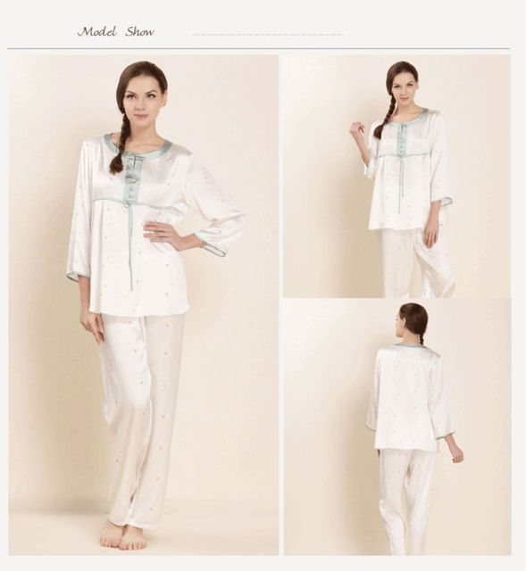 Spring Women Pajama Sets 100% Real Silk Pyjamas Lovers Sleepwear 2017 New Lounge Set Gifts Flowers Decorated AU80020