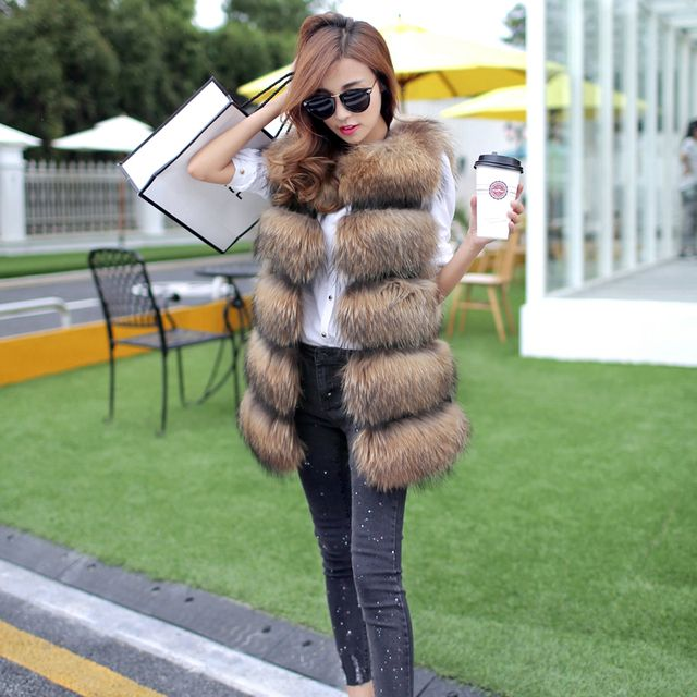 Women fashion Lady Raccoon Fur vest women's real fur and leather winter overcoat girl's warm outerwear Fur Vest coat
