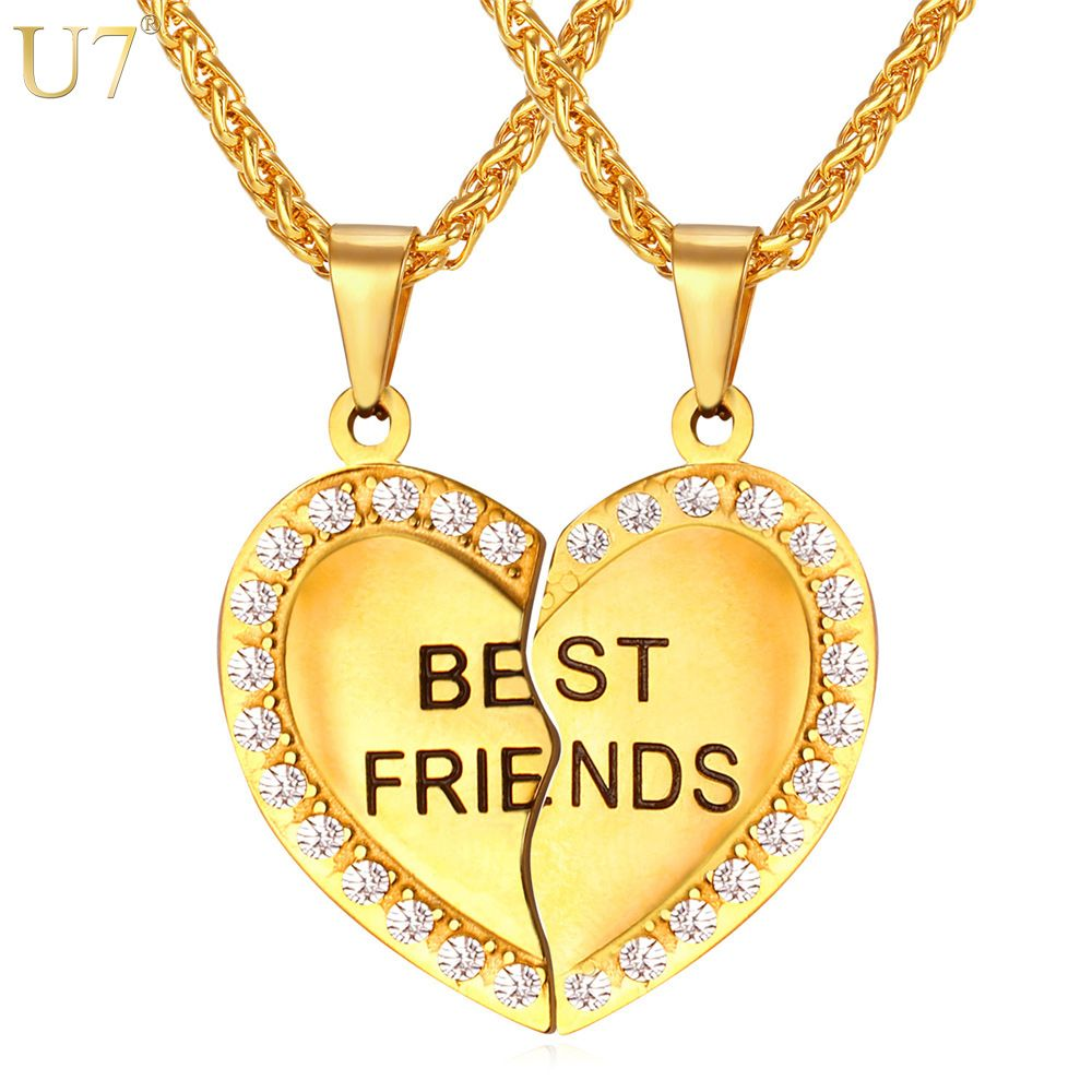U7 Brand Heart Necklace Friendship Jewelry Friend Pendant & Chains Gold Color Stainless Steel Best Friend Couple Necklace P821