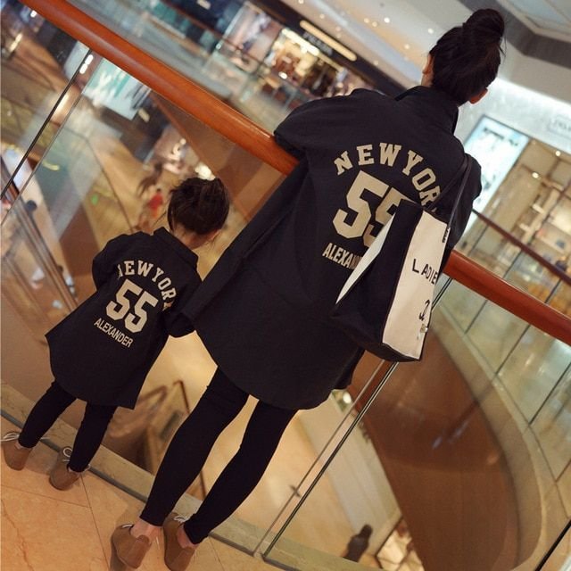 Family Matching Clothes Spring Autumn Casual Black Printing Loose Long Blouse Mother Daughter Matching Clothes Mom Baby Shirt
